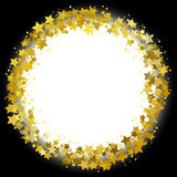 Star wreath. Circle frame of gold gritter stars royalty free illustration