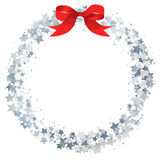 Star wreath. Circle frame of silver gritter stars royalty free illustration