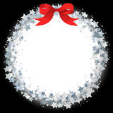 Star wreath. Circle frame of silver gritter stars stock illustration