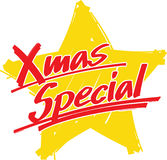 Star xmas special. A hand drawn yellow star with the hand written slogan XMAS SPECIAL in front Stock Images
