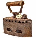 Stara żelazo rdza zakrywająca z antykiem gnił kieszeniowego zegarek Fotografia Royalty Free
