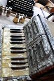 Stara akordeon klawiatura zdjęcie stock