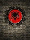 Stara Albania flaga w ściana z cegieł Fotografia Royalty Free