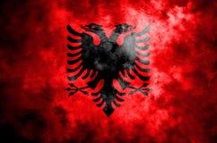 Stara Albania grunge tła flaga Zdjęcia Stock