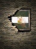 Stara Andalusia flaga w ściana z cegieł Obraz Stock