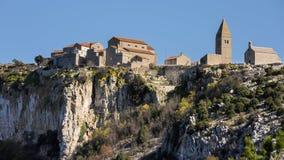 Stara antyczna wioska Lubenice na chorwackiej wyspie Cres obraz stock