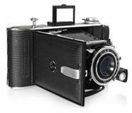 Stara, antykwarska, czarna, kieszeniowa kamera, Frontowy widok dla obiektywu Fotografia Stock