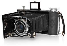 Stara, antykwarska, czarna, kieszeniowa kamera, kamery Agfa Billy wzorcowy rejestr Zdjęcia Stock