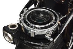 Stara, antykwarska, czarna, kieszeniowa kamera, zakończenie obiektyw Zdjęcia Stock