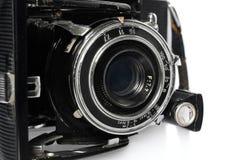 Stara, antykwarska, czarna, kieszeniowa kamera, zakończenie obiektyw Obrazy Royalty Free