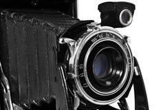 Stara, antykwarska, czarna, kieszeniowa kamera, zakończenie obiektyw Fotografia Stock