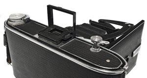 Stara, antykwarska, czarna, kieszeniowa kamera, zakończenie viewfinder Fotografia Stock