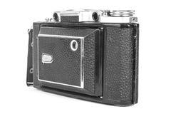 Stara, antykwarska kieszeniowa kamera, Czarna kamera zakrywa z czarną rzemienną rękojeścią Frontowy widok na białym tle Fotografia Royalty Free