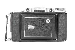 Stara, antykwarska kieszeniowa kamera, Czarna kamera zakrywa z czarną rzemienną rękojeścią Frontowy widok na białym tle Zdjęcie Stock