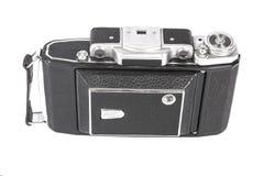 Stara, antykwarska kieszeniowa kamera, Czarna kamera zakrywa z czarną rzemienną rękojeścią Frontowy widok na białym tle Obrazy Royalty Free