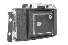 Stara, antykwarska kieszeniowa kamera, Czarna kamera zakrywa z czarną rzemienną rękojeścią Frontowy widok na białym tle Obraz Stock