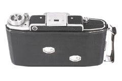 Stara, antykwarska kieszeniowa kamera, Czarna kamera zakrywa z czarną rzemienną rękojeścią Frontowy widok na białym tle Obrazy Stock