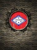 Stara Arkansas flaga w ściana z cegieł ilustracja wektor