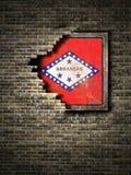 Stara Arkansas flaga w ściana z cegieł ilustracji