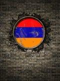 Stara Armenia flaga w ściana z cegieł Zdjęcie Stock