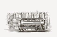 Stara autobusowa ręka rysująca London dwoistego decker ilustracja wektor Obrazy Royalty Free