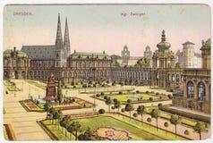 Stara barwiona pocztówka między 1935-1955 Drezden Zdjęcia Stock