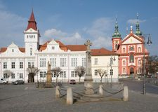 Stara Boleslav, Czech republic. Square with Town hall and Church of the Assumption in Stara Boleslav, Central Bohemia,Czech republic Stock Photo