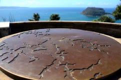 Stara brązowa mapa przy zachód głowy punktem obserwacyjnym Fotografia Royalty Free