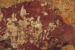 Stara brązu obierania ściana Abstrakta wzór na pomarańczowym sztukateryjnym tle Tekstura brudna obdrapana ściana Miastowy gr obraz royalty free