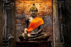 Stara Buddha statua w Ayutthaya Dziejowym parku Obrazy Royalty Free