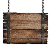 Stara burnt drewno znaka deska na łańcuchu Obrazy Royalty Free