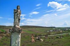 Stara cmentarz skały statua Zdjęcie Stock