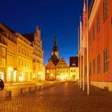 Stara część Greifswald w nocy Obrazy Royalty Free