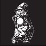 Stara czarownica trzyma kryształową kulę i wróży przyszłość w szyszkowym kapeluszu Śmieszny kreskówka stylu charakter Czerń i ilustracji