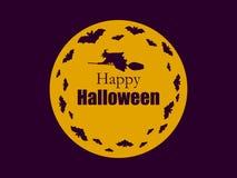 Stara czarownica z kapeluszem na miotle Nietoperze lata w tle księżyc Sylwetka guślarstwo doniosłego Halloween pocztówkowego nieb royalty ilustracja