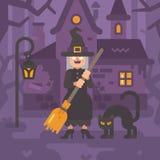 Stara czarownica z miotłą i czarnym kotem blisko jej budy ilustracja wektor