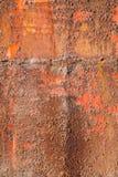 Stara czerwień rdzewiał żelazo talerza, pionowo fotografii tekstura fotografia royalty free