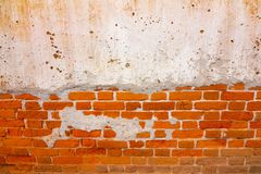 Stara czerwona ściana z cegieł tekstura Uszkadzał Brown Stonewall Abstrakcjonistycznego Pustego tło Obrazy Stock