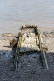 Stara desantowa scena lub jetty na Rzecznym Thames Obraz Royalty Free