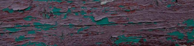 Stara deska z obieranie farbą zieleń i brąz struktura Obraz Stock