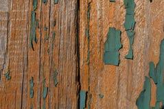 Stara deskowa stara zielona farba Obraz Royalty Free