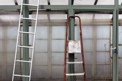 Stara drabina przeciw ścianie szklarnia Zdjęcie Stock