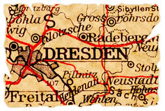 stara Dresden mapa Zdjęcia Royalty Free