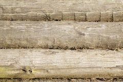 Stara drewniana ściana od bel jako tło tekstura Obraz Royalty Free