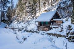 Stara drewniana buda w śniegu zakrywał zamarzniętego lodowatego wąwóz Baerenschuetzklamm Obraz Royalty Free