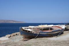 Stara drewniana fisher łódź Zdjęcia Stock