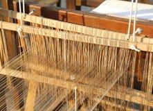 Stara drewniana Przędzalniana rama dla tekstylnego przerobu Fotografia Royalty Free