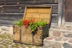Stara drewniana skarb klatka piersiowa wypełniająca z kwitnieniem kwitnie. fotografia royalty free
