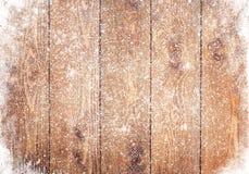 Stara drewniana tekstura z śniegiem Zdjęcia Royalty Free
