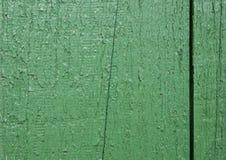 Stara drewniana tekstura z podławym zielonym farba przodem obrazy stock